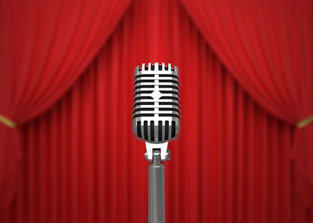 Retro microphone on stage. 3D illustration