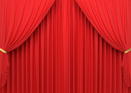 Open red curtains. 3D illustration