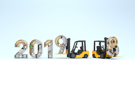 New year 2019 made from mechanical alphabet and forklift. 3D illustration Stock Photo