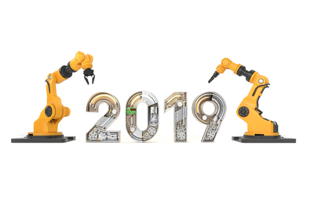 New year 2019 made from mechanical alphabet with robotic arm. 3D illustration Stock Photo