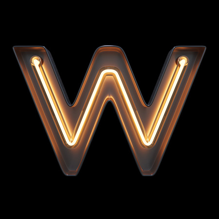 Neon Light Alphabet W with clipping path. 3D illustration Imagens