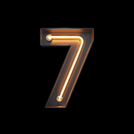 Number 7, Alphabet made from Neon Light with clipping path. 3D illustration Imagens