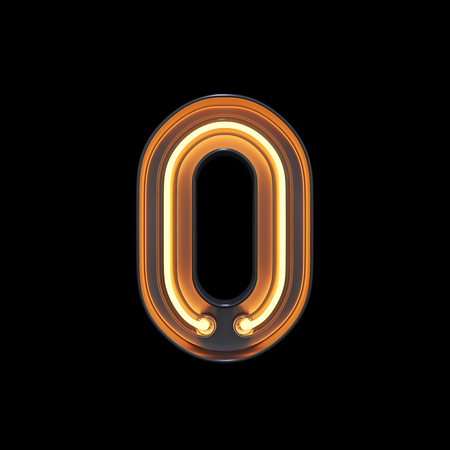 Number 0, Alphabet made from Neon Light with clipping path. 3D illustration