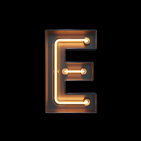 Neon Light Alphabet E with clipping path. 3D illustration Imagens