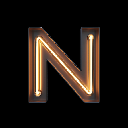 Neon Light Alphabet N with clipping path. 3D illustration