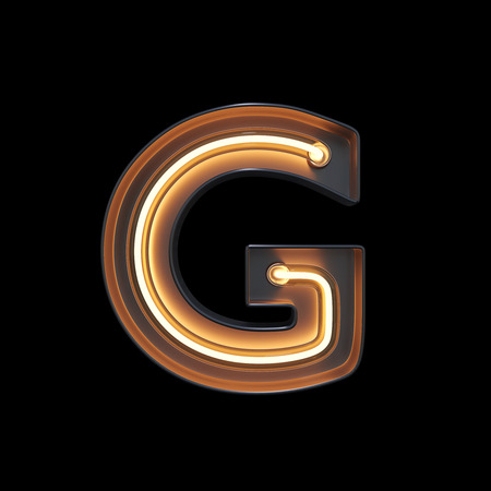 Neon Light Alphabet G with clipping path. 3D illustration Imagens