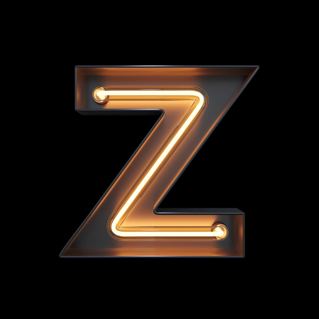 Neon Light Alphabet Z with clipping path. 3D illustration