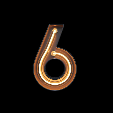 Number 6, Alphabet made from Neon Light with clipping path. 3D illustration Imagens