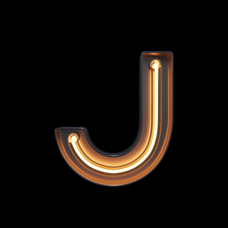 Neon Light Alphabet J with clipping path. 3D illustration