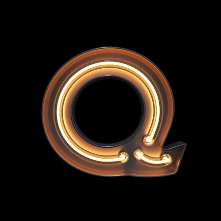 Neon Light Alphabet Q with clipping path. 3D illustration