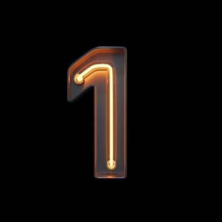 Number 1, Alphabet made from Neon Light with clipping path. 3D illustration Imagens