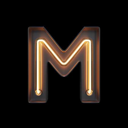 Neon Light Alphabet M with clipping path. 3D illustration