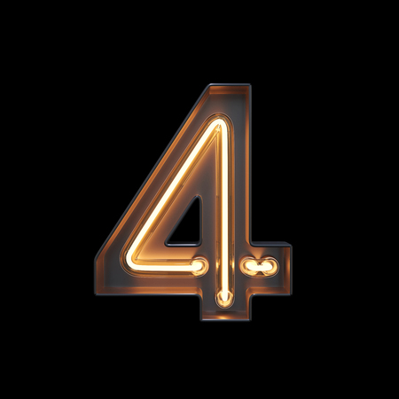 Number 4, Alphabet made from Neon Light with clipping path. 3D illustration Imagens