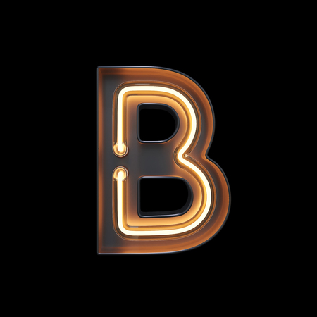 Neon Light Alphabet B with clipping path. 3D illustration