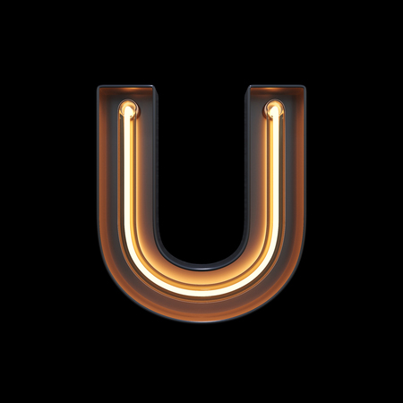 Neon Light Alphabet U with clipping path. 3D illustration