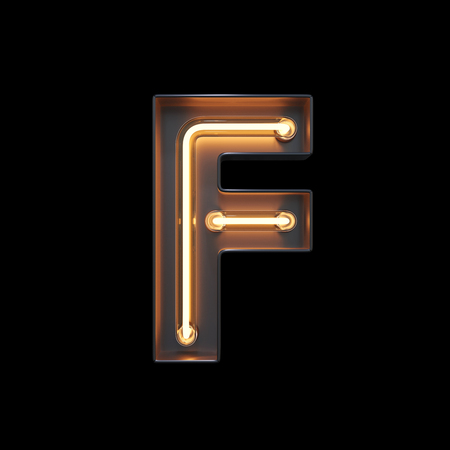 Neon Light Alphabet F with clipping path. 3D illustration