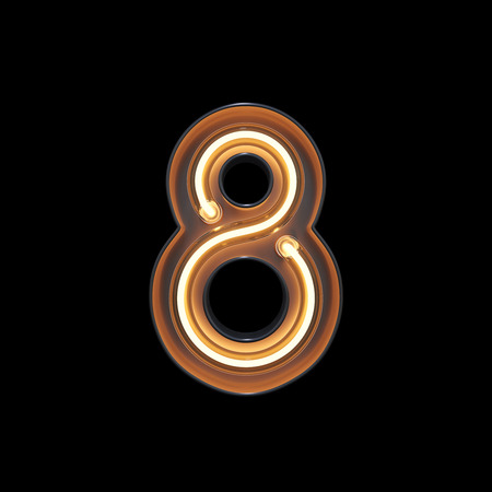 Number 8, Alphabet made from Neon Light with clipping path. 3D illustration
