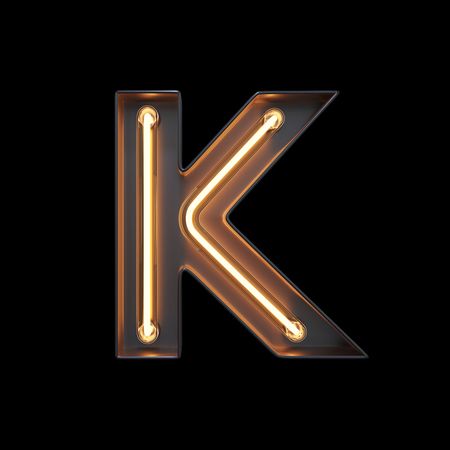 Neon Light Alphabet K with clipping path. 3D illustration Imagens