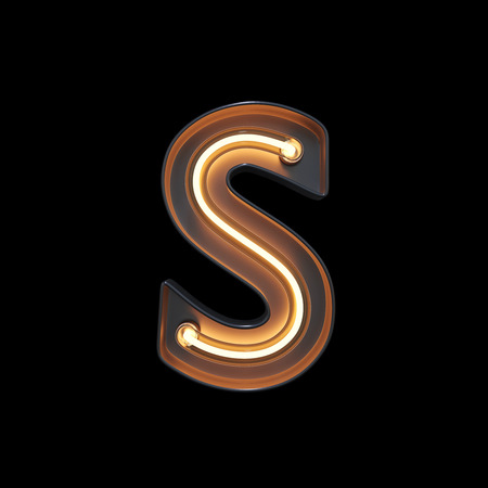 Neon Light Alphabet S with clipping path. 3D illustration
