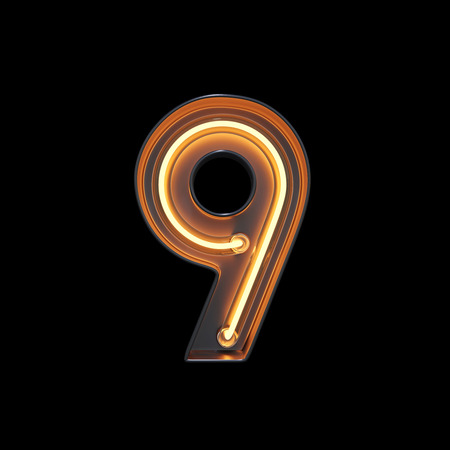 Number 9, Alphabet made from Neon Light with clipping path. 3D illustration Imagens