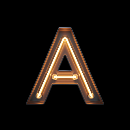 Neon Light Alphabet A with clipping path. 3D illustration