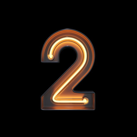 Number 2, Alphabet made from Neon Light with clipping path. 3D illustration