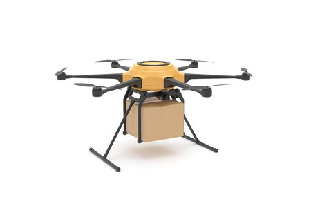 Delivery drone with the cardboard box on white background Stockfoto