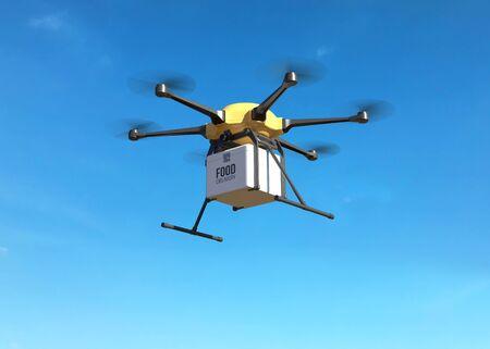 Concepto de drone de entrega de alimentos.