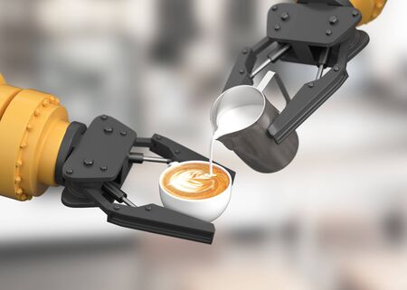 Robotic arm make latte art.