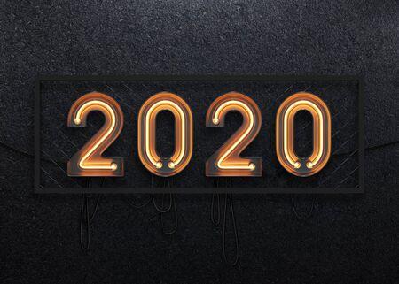 Nouvel an 2020 fabriqué à partir de l'alphabet néon. illustration 3D