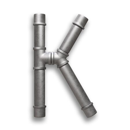 Alphabet made of Metal pipe, letter K with clipping path. 3D illustration