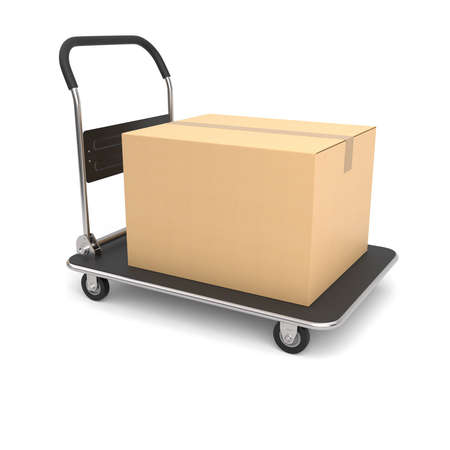 Cardboard box on a hand truck. 3D illustration Banco de Imagens