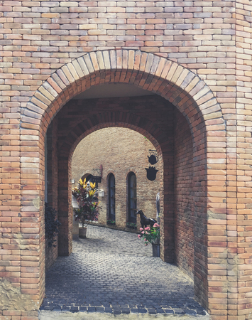 dry tortugas: archway brick with sidewalk and building