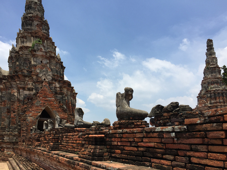 Ancient pagoda and Buddha statues without head, Old Capital of Thailand