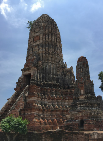 Ancient pagoda in Ayutthaya historical park, Thailand temple Stock Photo