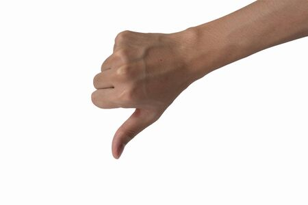 disapprove: Thumb down man hand sign isolated on a white background