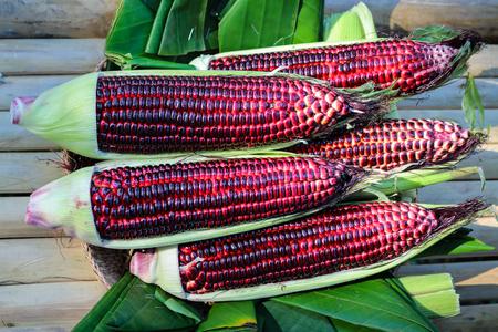waxy: sweet purple corn on banana leaf