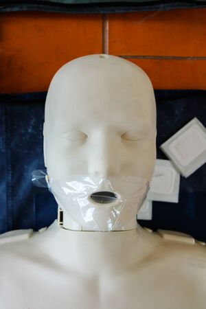 chest compression: Emergency training model is equipment for training CPR.