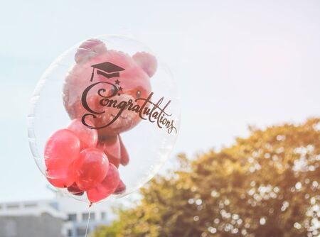 Red teddy bear in transparent balloon with congratulation text for graduate. Stock Photo
