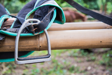 heavily: Stirrup horse blonde was heavily used hung on bamboo.