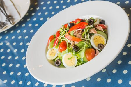 poor light: Tuna salad on white plate placed on a blue and white striped fabric. Focus on the salad on the plate behind blur and poor light. Stock Photo