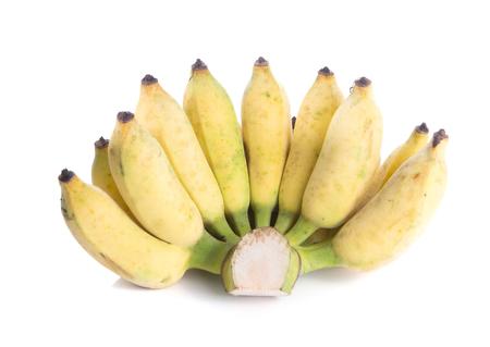 banane: Jaune bananiers cultivés sur fond blanc. Banque d'images