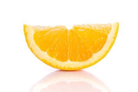 cleave: Orange cut half on white background. Stock Photo