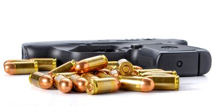 Bullet,gun placed on white background.