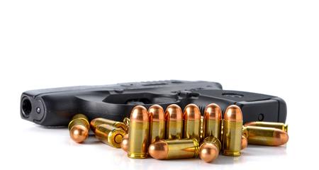 gun: Bullet,gun placed on white background.
