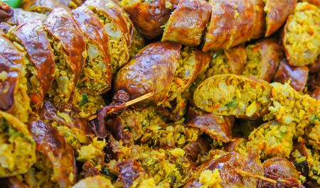 chitterlings: Thailand style grilled sausage cut into slices. Stock Photo
