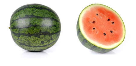 half ball: Watermelon full ball and cut half isolated on white background.