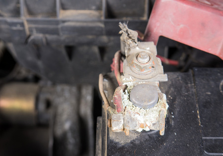 corrosion: Car battery corrosion on terminal,Dirty battery terminals.(Before cleaning)