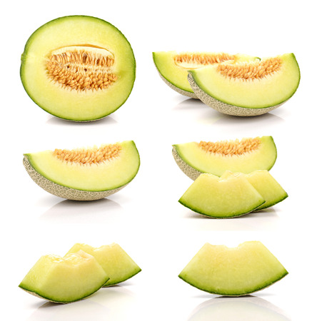 Collection Melon cut pieces isolated on white background. Imagens