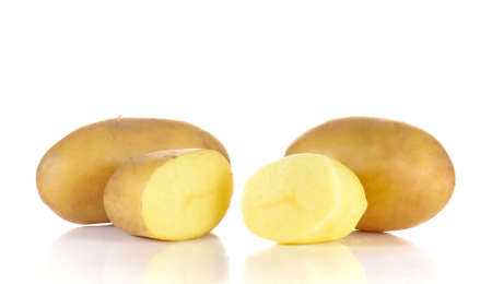 half ball: Fresh potatoes full ball and cut half isolated on white background.